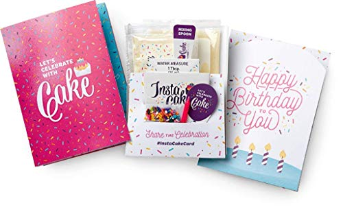 INSTACAKE CARDS - Happy Birthday Cake Card - Let's Celebrate with Cake Birthday Card! – Includes Single Serve Mug Cake! Pink Gluten Free Vanilla Confetti Cake Mix