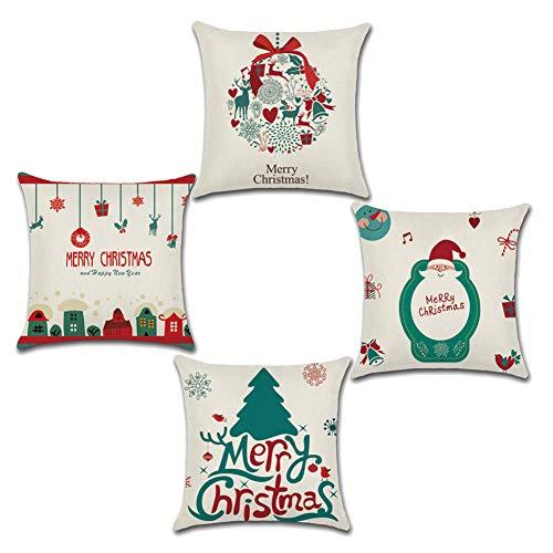 Confezione da 4 federe per cuscini natalizi, in cotone e lino, con albero di Natale, fiocchi di neve, pupazzi di neve, renne, Babbo Natale, decorazione per la casa, regalo di Natale, 45,7 x 45,7 cm A