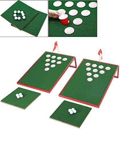 SPRAWL Golf Pong Cornhole Set Exciting Golf Chipping Game Chip Shot Game with 2 Target Boards 8 Golf Balls for Tailgate Beach Backyard Man Cave