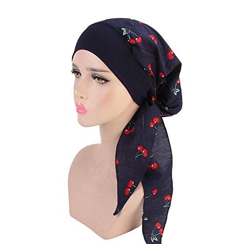 Dough.Q Damen Kopftuch Printed Turban Mit Elastische Stirnband Hut Elegante Hijab Chemo Atmungsaktiv Islamischen Kopfbedeckung Muslimischen Kopfschmuck Turban-Kappe Für Haarausfall