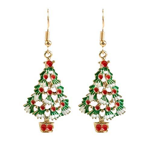 YeahiBaby 1 Pair of Lovely Christmas Tree Earrings Rhinestone Dangle Ear Stud for Women Girls