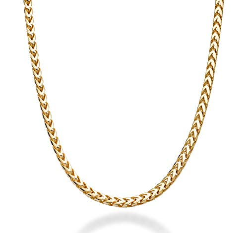 Miabella Solid 18K Gold Over Sterling Silver Italian 2.5mm Franco Square Box Link Chain Necklace for Men Women 16, 18, 20, 22, 24, 26, 30 Inch 925 Made in Italy (18 Inches)