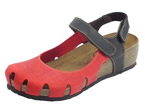 Sabatini M. Emanuela Damen-Sandalen aus gefettetem Leder, Crazy Rot und T. Moro, Braun - Rot T Moro - Größe: 39 EU