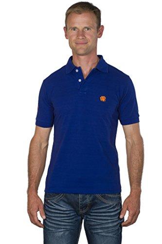 UGHOLIN Polo Regular Fit Coton Piqué Broderie Contrastée Cane Corso Manches Courtes Homme L Bleu électrique