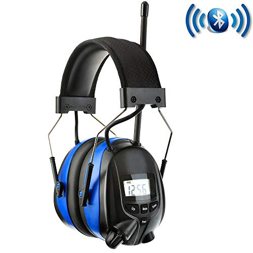 PROTEAR Defensores de oído recargables con Bluetooth y AM Radio FM Micrófono incorporado, protección auditiva de reducción de ruido, orejeras de seguridad, SNR 30 dB