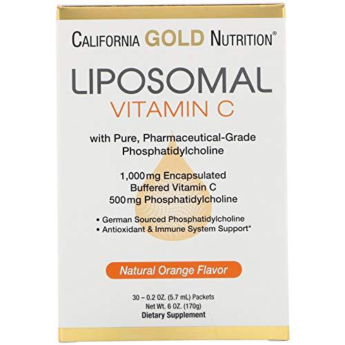 California Gold Nutrition Liposomal Vitamin C, Natural Orange Flavor, 1000 mg, 30 Packets, 0.2 oz (5.7 ml) Each