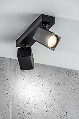 CGC Foco de techo con barra de montaje en superficie, cuadrado Negro doble, cabezal ajustable, foco de techo GU10