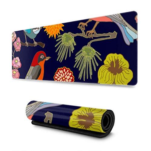 Alfombrilla de Escritorio con diseño de pájaros y Flores de jardín japonés Kawaii, 31,5 x 11,8 Pulgadas de Ancho