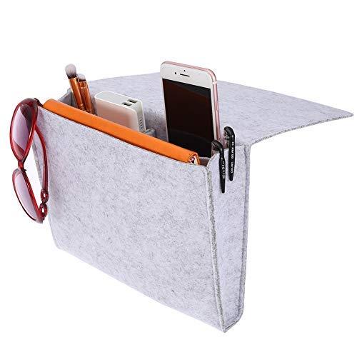 Wifehelper Draagbare Eenvoudige Stijl Vilt File Bedside Caddy Opbergtas 2 Kleine Zakken voor het organiseren Tablet Magazine Telefoon Meer Gadget