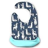 おもろい動物 馬 赤ちゃん シリコン ソフト スタイ 食事エプロン ベビー ビブ よだれかけ 2段調節 受け皿 ポケット付 保育園 離乳食 柔らかい 防水 清潔易い 持ち運び便利 出産のお祝い