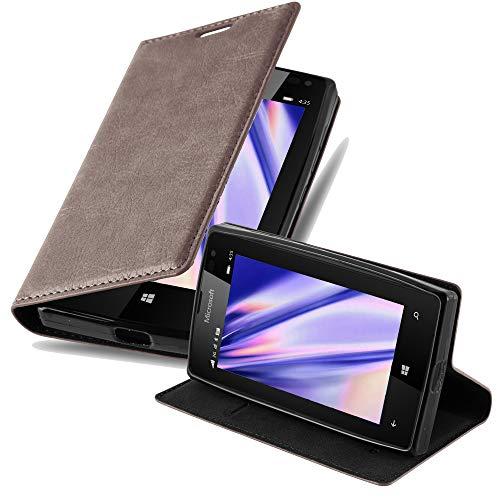 Cadorabo Hülle für Nokia Lumia 435 - Hülle in Kaffee BRAUN – Handyhülle mit Magnetverschluss, Standfunktion & Kartenfach - Case Cover Schutzhülle Etui Tasche Book Klapp Style
