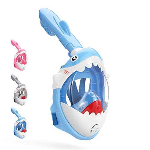 DCYSO Snorkel Mask Full Face Kids - 2020 Shark Sharp Snorkeling Mask for Kid HD Seaview Anti Fog...