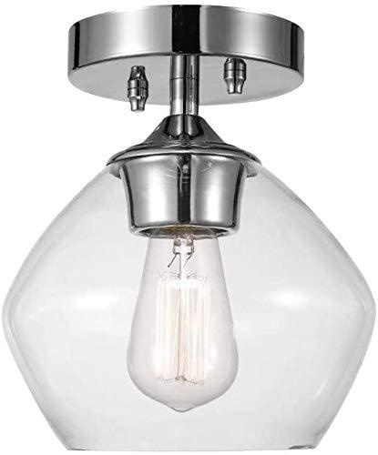 ZTJ-Lighting Retro-Deckenleuchte, Klarglas Shade Deckenlampe, E26 / E27 Birne, 1Light, Jahrgang Industrie-Stil Metall Deckenbeleuchtung Lampe für Kücheninsel Esszimmer (8 Zoll),Silber