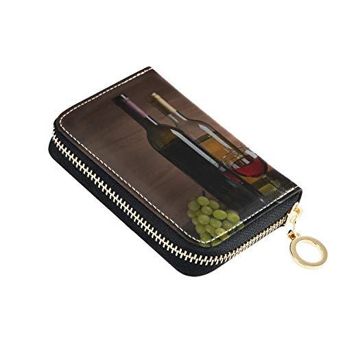 Fall Kartenhalter Flasche Wein und Traube auf Tisch Münze/Karte Brieftasche Pu Leder Zip-Around Kompakte Größe Geschenkkartenhalter für Frauen Damen Mädchen Minimalist Akkordeon Brieftasche