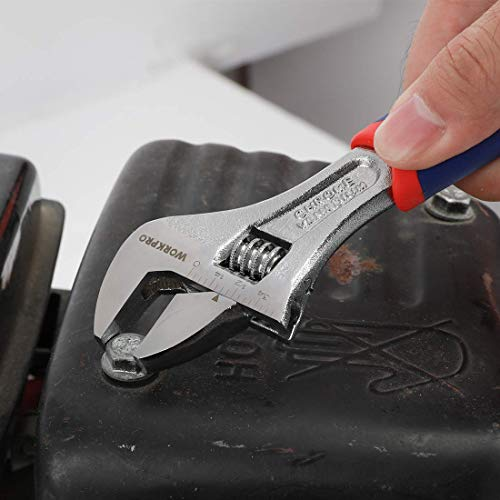WORKPRO 3-piece Adjustable Wrench Set CR-V with Rubberized Anti-Slip Grips 10-inch, 8-inch, 6-inch