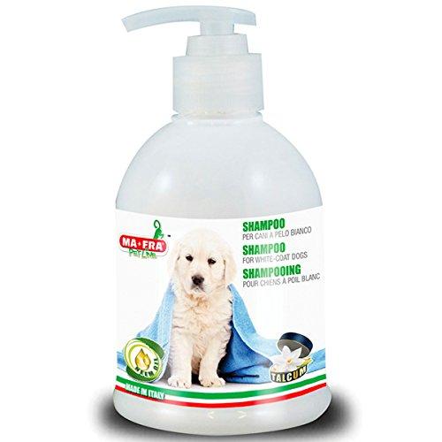 MA-FRA, Shampoo für Hunde mit weißem Fell, Gegen Vergilbung, Extraglanz, Weist Parasiten ab, mit Neemöl, Talkduft, 250 ml