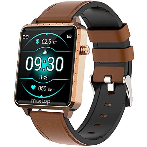maxtop Smartwatch Fitness Armbanduhr mit Pulsuhr Fitnessuhr 1.54-Zoll Touchscreen Fitness Tracker IP68 Wasserdicht Sportuhr mit Herzfrequenzmessung für Android iOS Smart Watch für Damen Herren