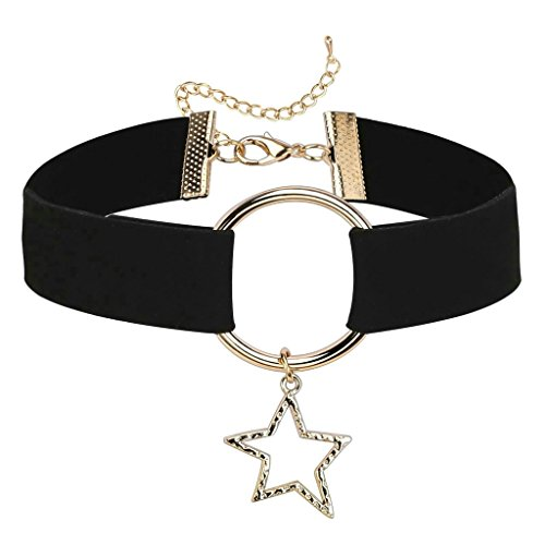 Daesar Joyería Mujer Joven Acero Inoxidable Choker Gargantilla Estrella Terciopelo Velvet Negro Oro Choker Necklace, 30.3+8CM