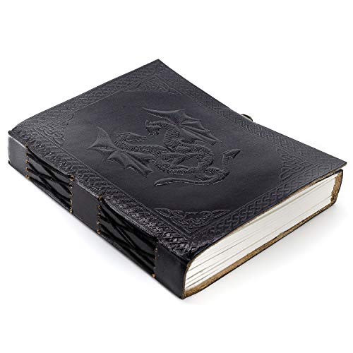Handmade Leather Double Dragon Journal/Writing Notebook Diary/Bound Daily Notepad for Men & Women Unlined Paper Medium, Writing pad Gift for Artist, Sketch (7 X 5, Black)