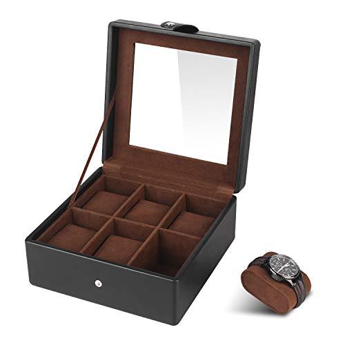 SHYOSUCCE 6 Fächer Uhrenbox mit Transparent Glasdeckel und Abnehmbare Samt Kissen, Uhrenkasten aus PU Leder, Schwarz(19.5x19.5x9.5cm)