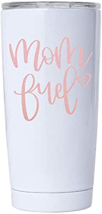 2a8d90576ae Mom Fuel in Rose Gold Metallic Vinyl on a 20oz White Stainless Steel Tumbler