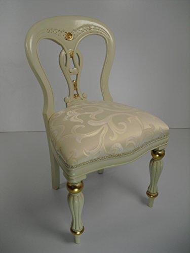 Stuhl Art Kolonial Barock Chippendale in elfenbeinfarben mit Goldblattauflagen