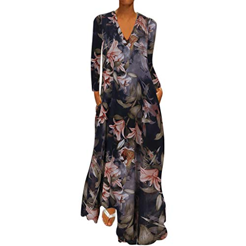 Kaister V-Ausschnitt Blumenkleid Druck Langarm Mode Frauen Casual Plus Size Lose Kleid
