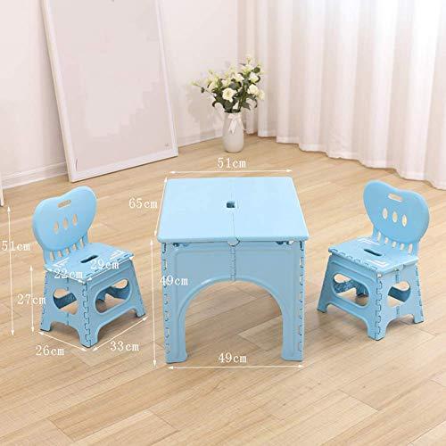 Juego de mesa y silla plegable para niños, mesa de actividades portátil con 2 sillas, mesa de juego para niños de 1 a 7 años, apto para dormitorio, coche, camping, jardín al aire libre