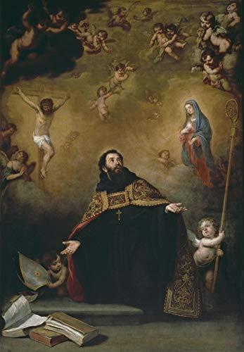 Murillo Bartolomé Esteban San Agustín Entre Cristo y la Virgen Rompecabezas Juguete de Madera Adulto Familia Amigo DIY Challenge Decoración de Pared 1000 Piezas