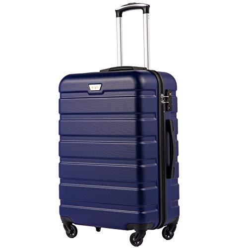 COOLIFE Hartschalen-Koffer Trolley Rollkoffer Reisekoffer mit TSA-Schloss und 4 Rollen(Blau, Mittelgroßer Koffer)