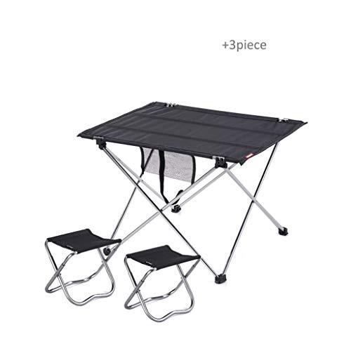 Table Pliante Portable Camping Outdoor Table d'ordinateur de Pique-Nique en Aluminium de Bureau Pliant Ultra léger (Color : Black-B, Taille : S)