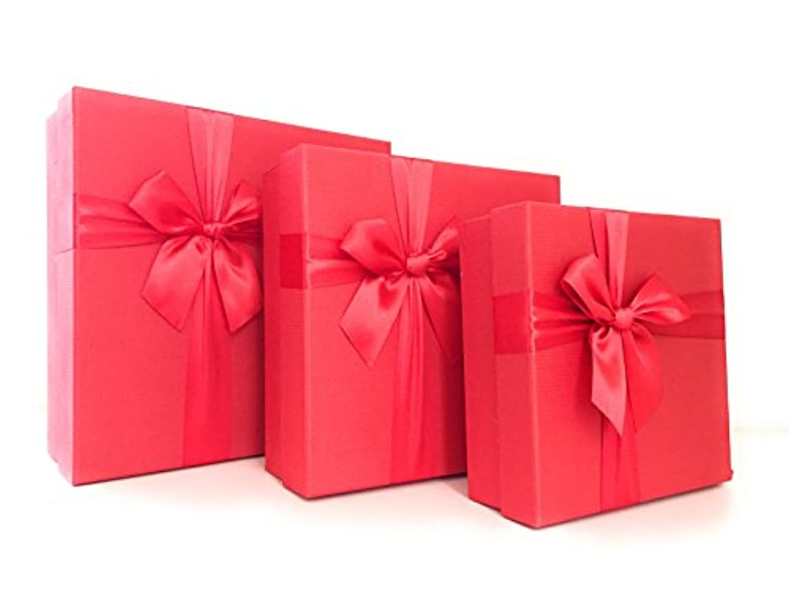 Cypress Lane Gift Boxes with Ribbon, a Nested Set of 3 (Red)