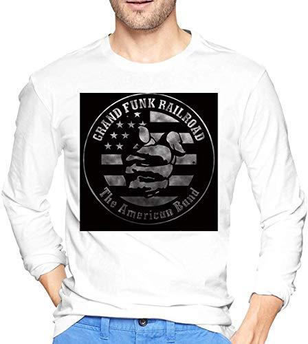 Long Sleeve Men Grand Funk Railroad Logo 1 Vintage T-Shirts tee,White,Small