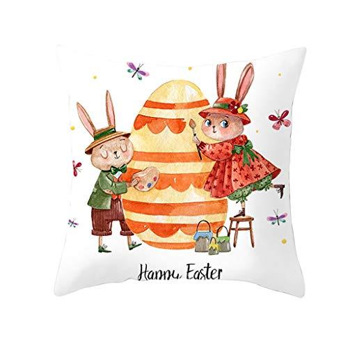 Oppal Funda de Almohada con Estampado de Conejo de Pascua, Funda de cojín de poliéster para sofá, decoración del hogar, Funda de Almohada para el día de Pascua (P)