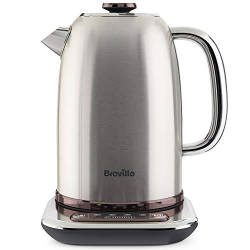 Breville Temperature Select Electric Kettle | 1.7 L | 3kW Fast Boil | Smart Digital Controls | Brushed Nickel (Silver/Grey), [VKT159] + Select 4-Slice Toaster
