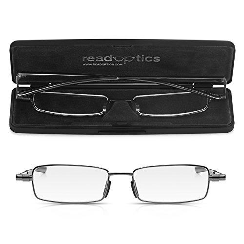 Read Optics flache Lesebrille +1,0 Dioptrien. Faltbare Brille mit Vollrand und patentierten Premium Difuzer™ Gläsern. Für Herren und Damen inkl dünnem Hartschalen-Etui. Lebenslange Garantie