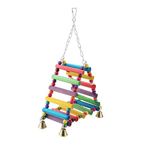 SH-RuiDu Jaula de pájaros loros Campanas Juguetes Escaleras de Madera Perca Puente Swing