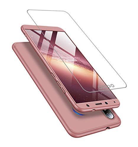 Cover Compatibile Xiaomi Redmi 7A ,Custodia + vetro temperato Protezione a 360 ° PC hard case JOYTAG-Rose Gold