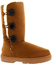 Triplet button soft textile boots Fully Textile lined interior Thick durable soles with deep tread Available in a palette of fashionable shades