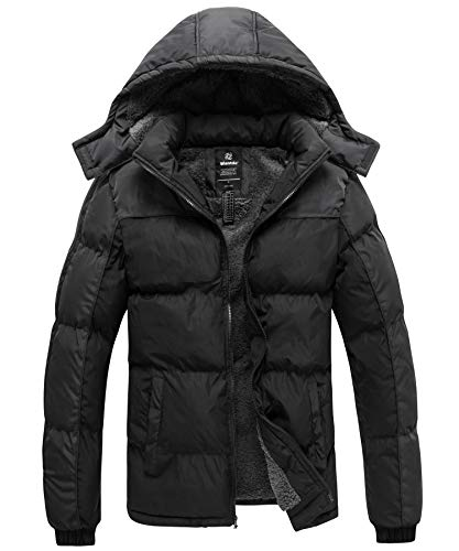 Wantdo Men's Heavy Winter Coats Puffer Padded Jacket with Hood Black&Gray Small