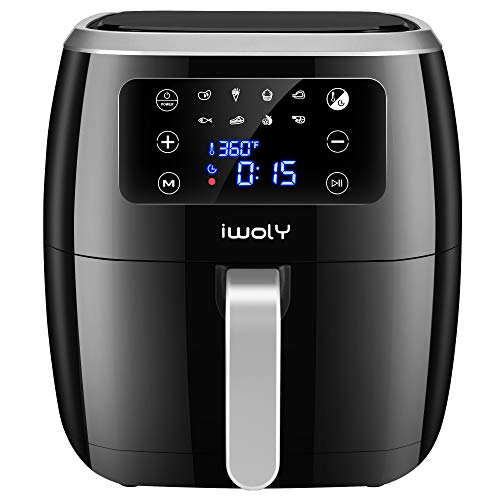 iwoly Air Fryer XL (6.3 QT) Digital Hot Oven Cooker, One Touch Screen with 8 Presets, Nonstick Basket, 1700W Oilless Cooker