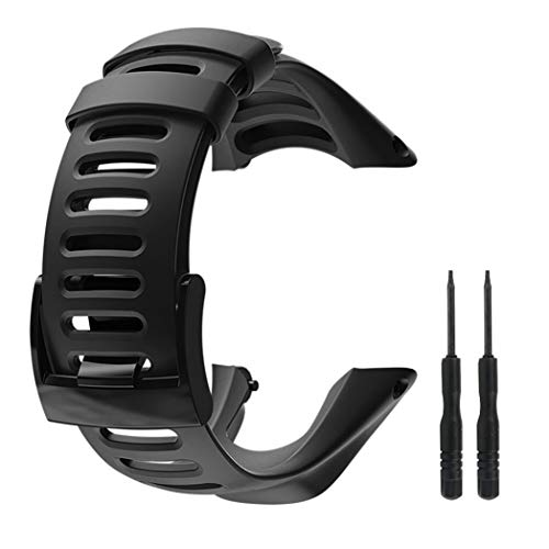 Picowe Suunto Ambit Watch Band Strap, All Black Replacement Strap for Suunto Ambit 1/2/2S/2R/3 Sport/3 Run/3 Peak, Screwdriver Included