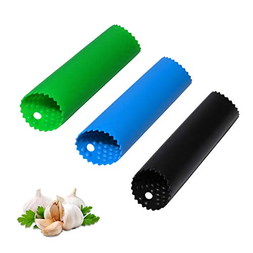 Garlic Peeler Skin Remover Roller,Piller,Easy to Peeled Garlic Cloves with Best Silicone Tube Roller Garlic Odorfree Kitchen Tool Peeling Without Smell with Internal Wave Points Design (3 Colors)