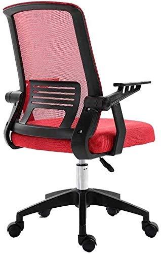 Silla giratoria giratoria giratoria 360 ° ergonomía de malla asiento giratorio Lift Lazy Presidente ordenador moderno Simplicidad silla de oficina para sala de reuniones, oficina (color: rojo)