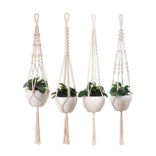 Aongray 39 inch Makramee Blumenampel Hängepflanzgefäße Set,Pflanzen Halter Aufhänger für Innen Außen Decken Balkone Wanddekoration,4 Stück Baumwollseil Hängeampel in verschiedenen Ausführungen. (39)