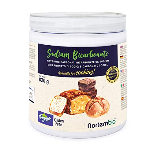 Nortembio Bicarbonate de Soude Biologique 820g. Alimentaire. Spécial pour Cuisiner. Qualité Supérieure. E-Book Inclus.