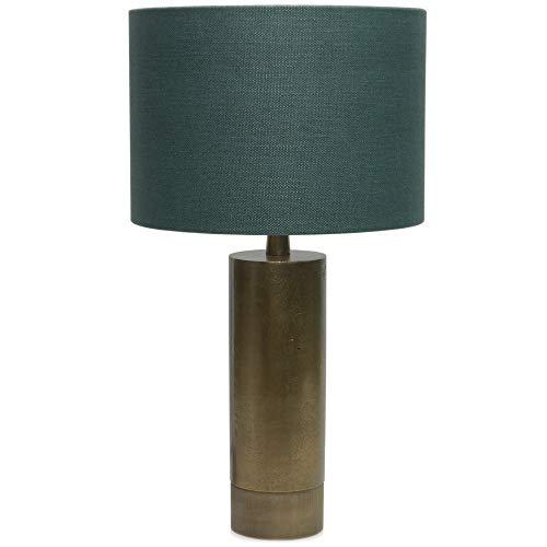 Light and Living Tischlampe 'Savi' hochwertige Tischleuchte mit Stoffschirm petrol grün Metallfuß Messing Gold Lampe Nachttischlampe Modern Design Skandinavisch Industrial