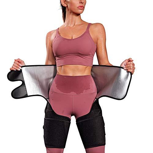 Kumayes Waist Trainer Belt for Women Thigh Waist Trimmer Butt Lifter Slimming Workout Sweat Band Body Shaper (Black, Medium)