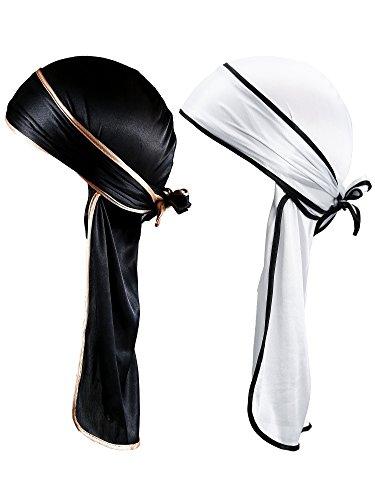 Seidig Durag Langen Schwanz Kopfbedeckungen Breite Riemen Pirat Cap Glatte Hut (Farbe Set 1)