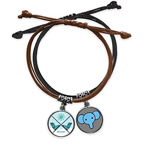 Beauty Gift Armband mit Skischuhen, Wasserfarbenmuster, Handkette, Leder, Elefanten-Armband
